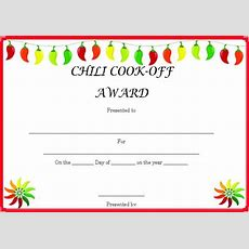 Chili Cook Certificate Template Cook Score Cards The Reserve
