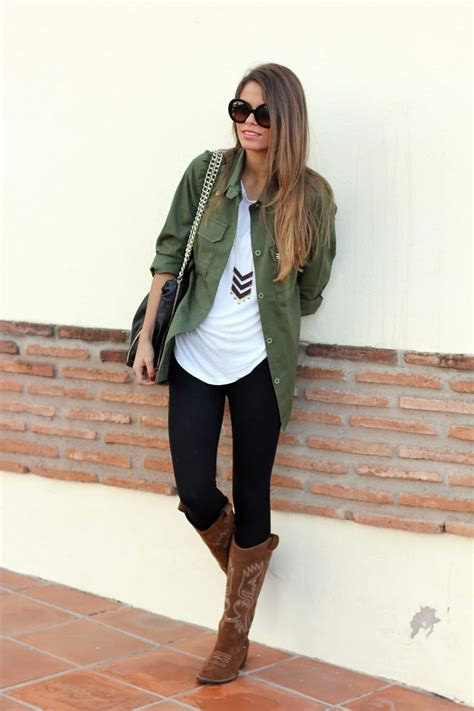 Casual fall outfit. Green shirt black pants white top and brown boots   Fall Fashion ...