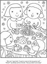 Party Tea Coloring Pages Dover Publications Welcome Doverpublications Bing Snacks sketch template