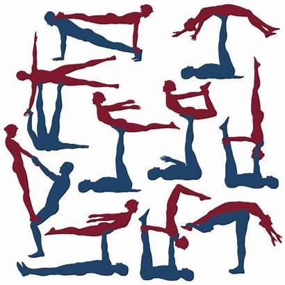 Poses Yoga Acro Acroyoga Vector Illustration Clip