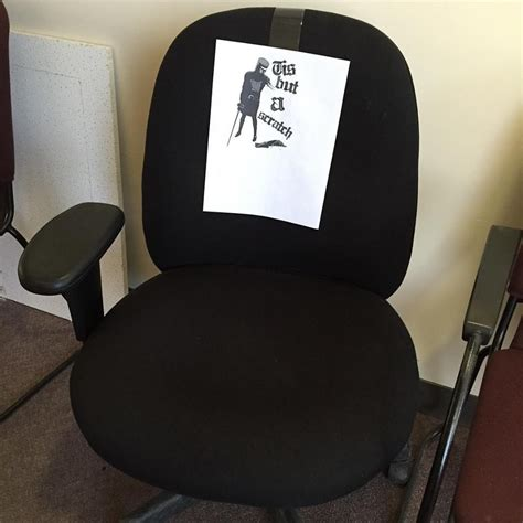 one arm office chair gets a monty python reference