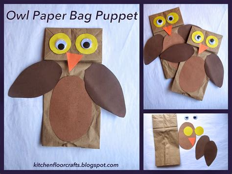 kitchen floor crafts owl paper bag puppets
