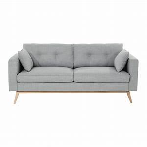 canape 3 places en tissu gris clair brooke maisons du monde With tapis jonc de mer avec canapé 3 places convertible gris