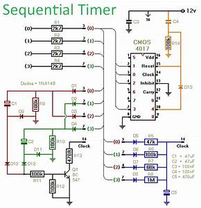 Cmos 4017 Sequential Timer Circuit Diagram And Instructions
