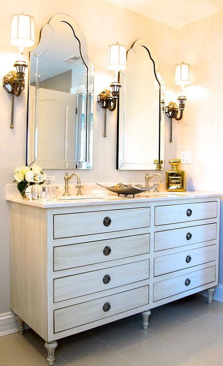Restoration Hardware Maison Vanity by Antiqued White Dual Vanity With Arched Mirrors