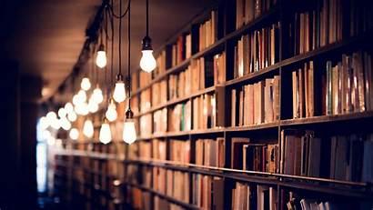 Library Books Shelves Lighting Background Monitor Ultrawide