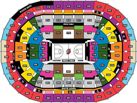 seating map portland trail blazers