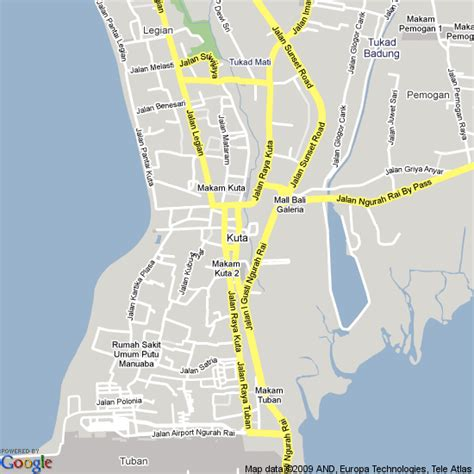 map  kuta indonesia hotels accommodation