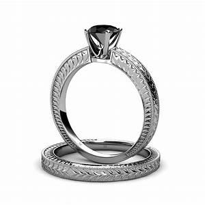 73 mm black diamond filgree milgrain work bridal ring With work wedding rings