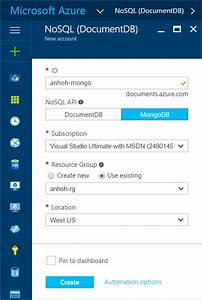 Create a documentdb account for use with mongodb apps for Microsoft azure documents