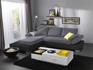 canape d39angle a gauche fixe biblog gris noir With nettoyage tapis avec canapé pieds relevables