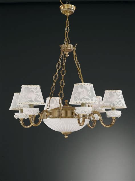 8 lights brass and white porcelain chandelier with l
