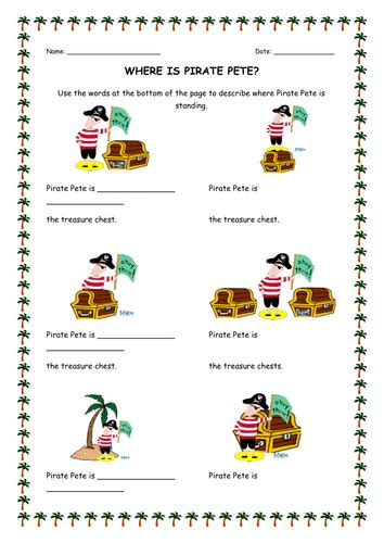 pirate direction worksheet teaching resources