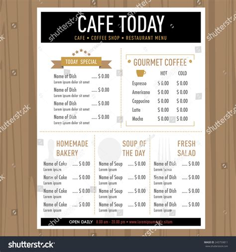 cafe restaurant menu design lay  stock vector