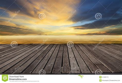 Textured Of Wood Terrace And Beautiful Dusky Sky With Free