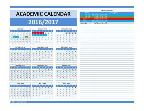 2016 2017 School Calendar Excel Templates