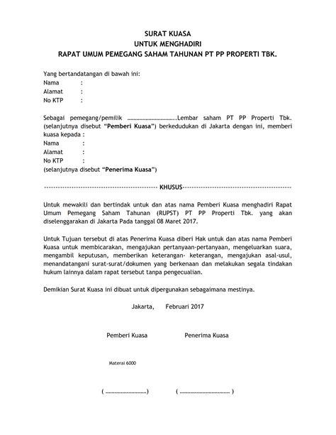 contoh surat kuasa  menghadiri rapat umum pemegang
