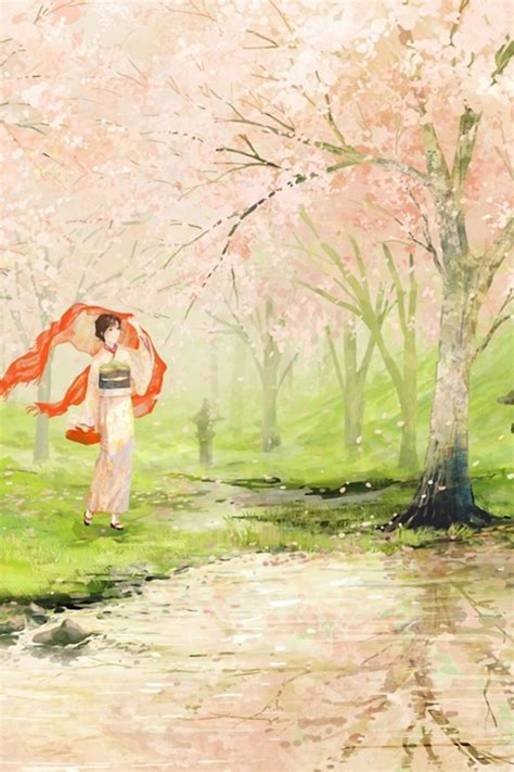 cherry blossom geisha japan iphone  wallpaper