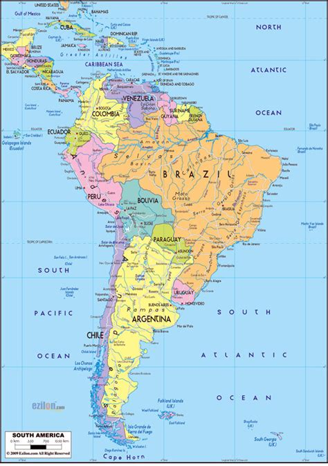 large detailed political map of south america with roads
