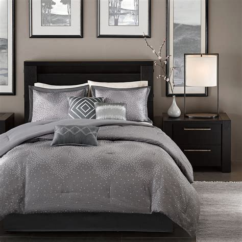 BEAUTIFUL 7PC MODERN CONTEMPORARY CHIC GREY SILVER CHEVRON STRIPE COMFORTER SET   eBay