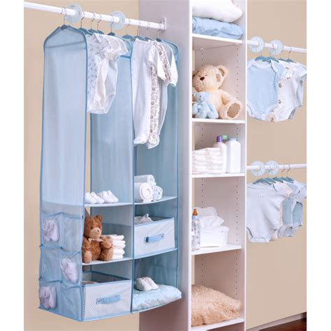 baby closet organizer 24 piece blue baby nursery hanging closet storage organizer space saving set ebay