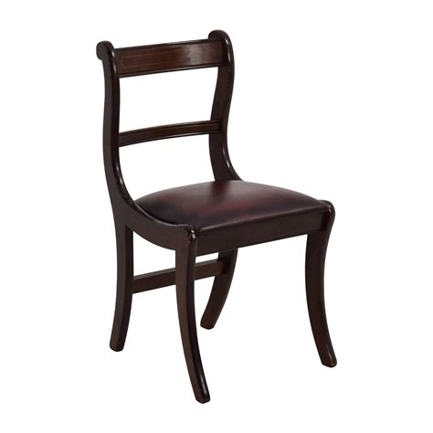 78% Off  Dark Wood Chair With Leather Seat Chairs