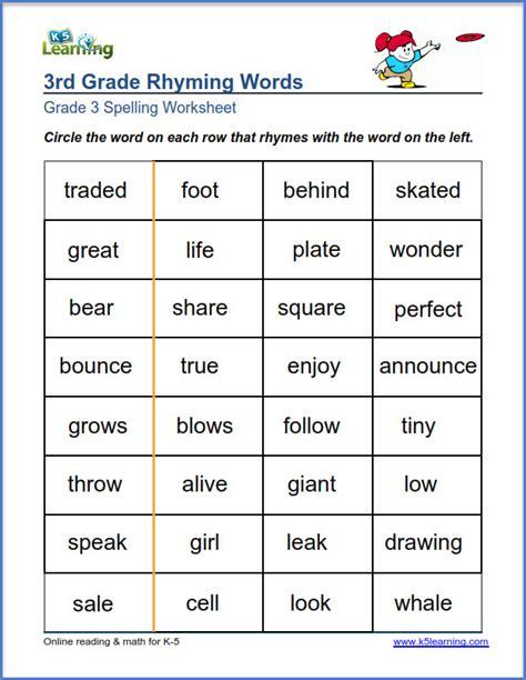 Grade 3 Spelling Worksheet  Words That Rhyme  K5 Learning