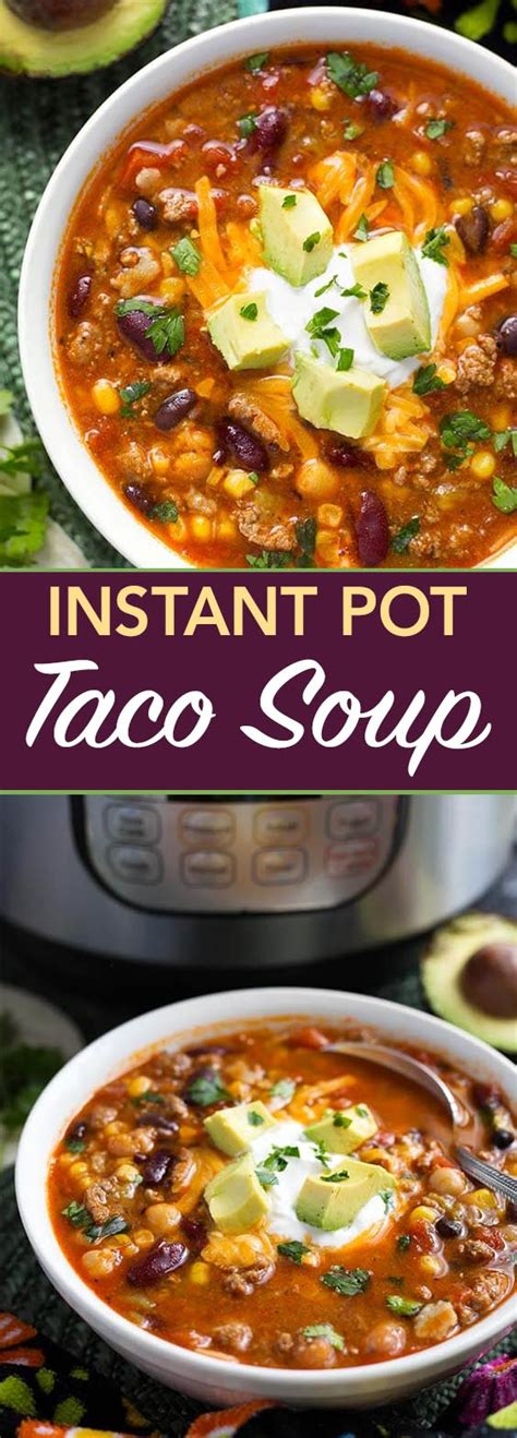 Cook onion and garlic in olive oil using the instant pot's sauté function before browning ground turkey. Instant Pot Taco Soup is a delicious and hearty soup made with beans, corn, ground beef or ...