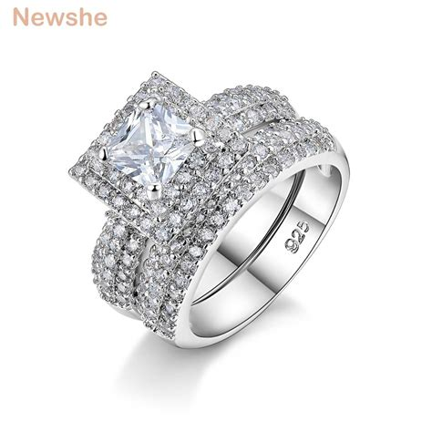 aliexpress com buy newshe 2 ct princess cut cz solid 925 sterling silver wedding ring