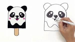 How to draw Cute Panda Ice Cream - Very Easy ! HDE - YouTube