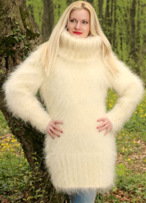 sweater hand knit  mohair dress turtleneck