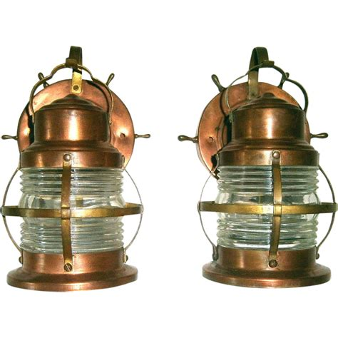 pair vintage marine style porch lights or lanterns from
