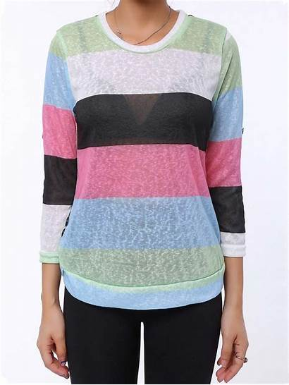 Trendy Neck Scoop Shirt Sleeve Colored Shirts