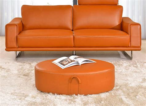 Orange Leather Loveseat by Leather Orange Sofa Divani Casa 6138 Modern Orange And