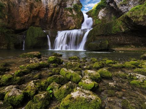 france waterfalls stones franche comte moss nature