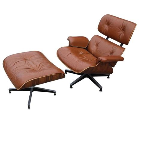 modern eames rosewood light brown leather lounge chair at
