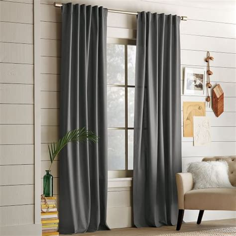 West Elm Drapery Hardware by Cotton Canvas Pole Pocket Curtain Steel West Elm
