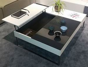 chiva functional coffee table with storage in white With black glass coffee table with storage