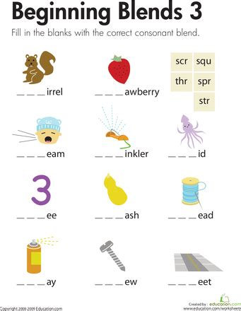 beginning blends  education language arts st grade