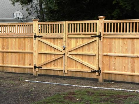 Wood Fence Double Gate Design Ideas With Wood Gate