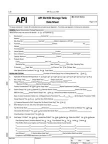 API 650 Tank Datasheet | Pipe (Fluid Conveyance