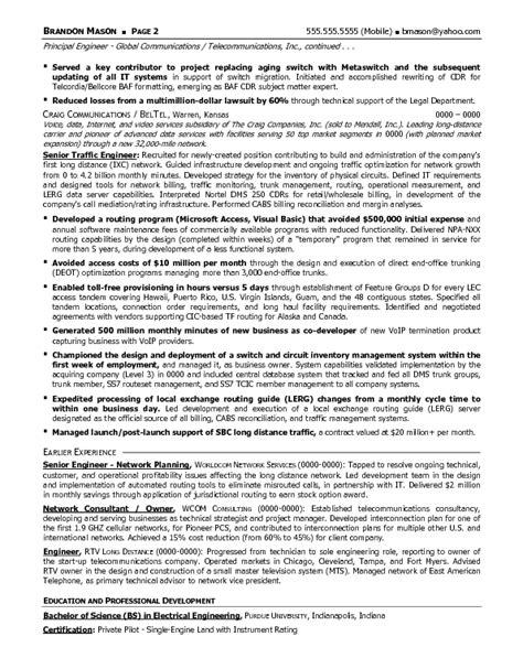 resume sample  senior telecommunications engineering