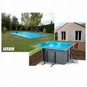Piscine Semi Enterrée Pas Cher : waterclip piscine bois alu 460x460x147 optimum achat ~ Melissatoandfro.com Idées de Décoration