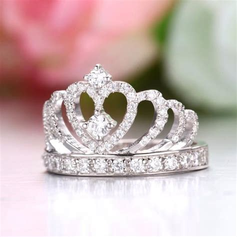 sterling silver princess crown engagement ring