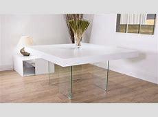 Large Square White Oak Dining Table Trendy Glass Legs