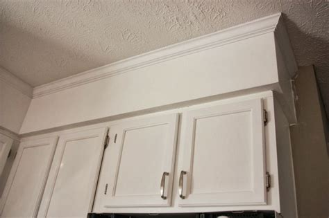 painted kitchen soffit with crown molding soffit