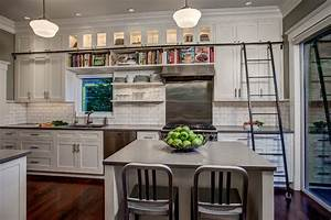 library ladder in kitchen craftsman kitchen seattle With kitchen colors with white cabinets with vellum photo candle holder