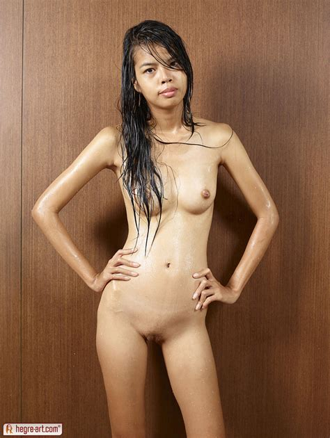 Skinny Thai University Student Model With Wet Hair