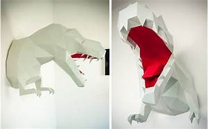 Trophée Animaux Origami : troph e mural origami dinosaure t rex xl gris pour la d coration de chambre enfant troph es ~ Teatrodelosmanantiales.com Idées de Décoration