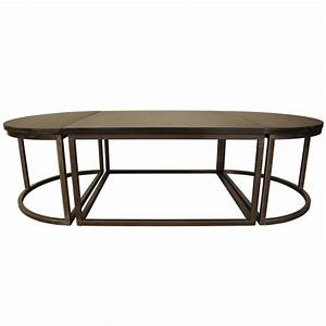 Noir oval stone metal coffee table for Metal coffee table with stone top